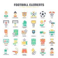 Ícones de linha fina de elementos de futebol vetor