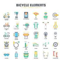 Ícones plana de elementos de bicicleta vetor