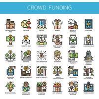 Ícones de linha fina de crowdfunding