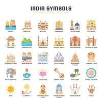 Símbolos da Índia ícones de cores planas vetor