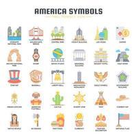 Ícones de cores planas de símbolos da América vetor