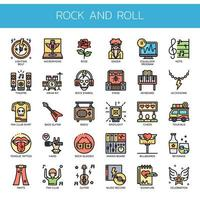 Ícones de linha fina de rock and roll vetor