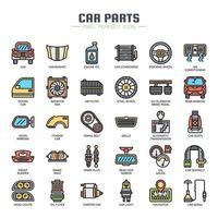 Ícones de cor de linha fina de peças de carro vetor