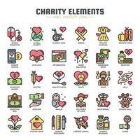 Ícones de linha fina de elementos de caridade vetor
