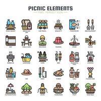 Elementos de piquenique linha fina cor ícones