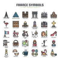 Ícones de linha fina de símbolos de França vetor