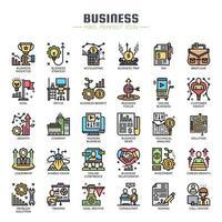 Ícones de linha fina de elementos de negócios vetor