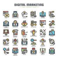 Ícones de linha fina de marketing digital vetor