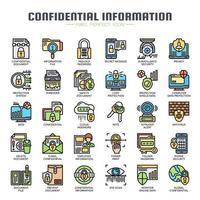 Ícones de linha fina de informações confidenciais vetor