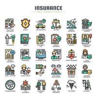 Elementos de seguros ícones de cor de linha fina vetor