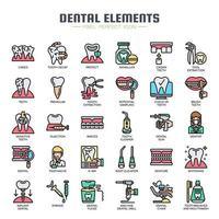 Elementos dentais ícones de cor de linha fina vetor