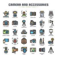 Câmera e acessórios ícones de cor de linha fina vetor