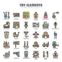 Elementos de brinquedo linha fina cor ícones vetor