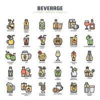 Ícones de cor de linha fina de bebidas vetor