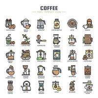 Ícones de cor de linha fina de elementos Cofee vetor