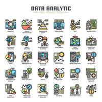 Ícones de linha fina analítica de dados vetor
