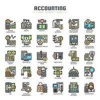 Ícones de linha fina de contabilidade vetor