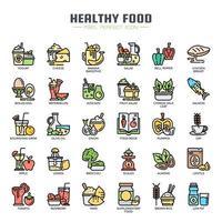 Ícones de linha fina de comida saudável vetor