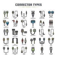 Tipos de conectores Ícones de linha fina vetor
