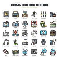 Ícones de linha fina de música e multimídia vetor