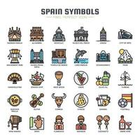 Ícones de linha fina de símbolos de Espanha vetor