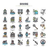 Elementos de mergulho ícones de linha fina vetor