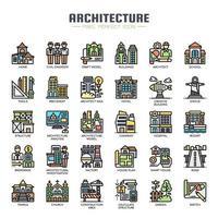Ícones de cor de linha fina de arquitetura vetor