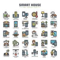 Ícones de linha fina de casa inteligente vetor
