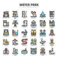 Ícones de linha fina de parque aquático vetor