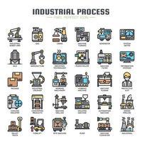 Ícones de linha fina de processo industrial vetor