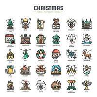 Ícones de linha fina de elementos de Natal vetor