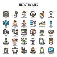 Ícones de linha fina de vida saudável vetor