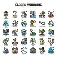 Ícones de linha fina de aquecimento global vetor