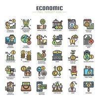 Ícones de linha fina de elementos econômicos vetor