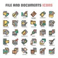 Ícones de linha fina de arquivos e documentos vetor