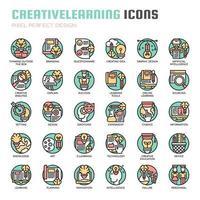 Ícones de linha fina de aprendizagem criativa vetor