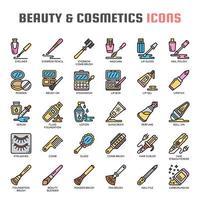Ícones de linha fina de beleza e cosméticos vetor