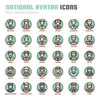 Avatar nacional, linha fina e ícones perfeitos de Pixel vetor