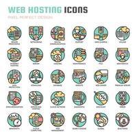 Ícones de linha fina de hospedagem na web vetor