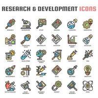 Ícones de linha fina de pesquisa e desenvolvimento vetor