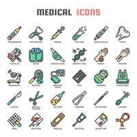 Elementos médicos linha fina e Pixel ícones perfeitos vetor