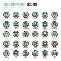 Ícones de linha fina de ocupação vetor