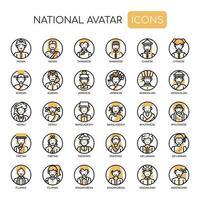 Ícones monocromáticos de linha fina de avatar nacional vetor