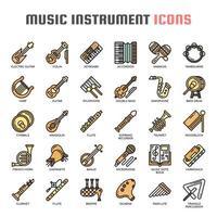 Ícones de cor de linha fina de instrumentos musicais vetor