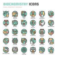 Ícones de linha fina de bioquímica