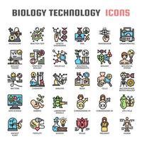 Ícones de linha fina de tecnologia de biologia