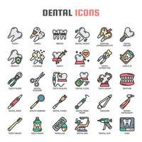 Ícones de linha fina dental vetor