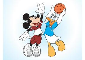 Mickey Mouse E Pato Donald vetor