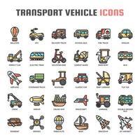 Veículo de transporte, linha fina e ícones perfeitos de Pixel vetor