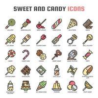 Ícones de linha fina de doces e doces vetor